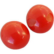Vintage Bakelite Buttons Bright Red Round Balls
