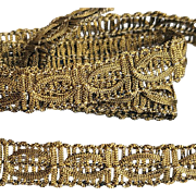 Old Passementerie Gold Metallic Woven Ribbon Fancy Trim Doll Clothes or Costumes