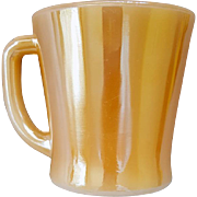 Fire King D Handle Coffee Mug / Cup Peach Luster / Marigold