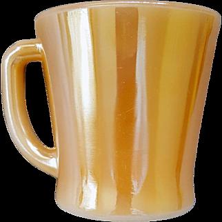 Fire King D Handle Coffee Mug / Cup Peach Luster / Marigold