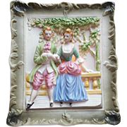 Occupied Japan Night Light Bisque Porcelain Colonial Couple Works