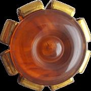 Bakelite and Brass Button Yummy Caramel 1940s