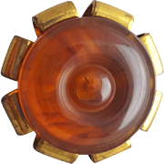 Bakelite and Brass Button Yummy Caramel 1940s