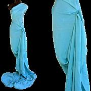 1940s Sewing Fabric Blue Rayon Crepe 3-3/4 Yards Long Rare