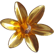 Vintage Novelty Brass Flower and Bakelite Button 1930s