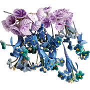 Miniature Vintage Paper Flowers Doll Hats Millinery Purple and Blue