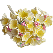 Darling Vintage Paper Flowers Pastel Yellow for DIY Crafting Dolls Fairy Gardens