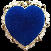 1960s Sewing Pin Cushion Heart Shaped Blue Velvet Sam Fink