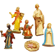 Vintage Christmas Nativity Figures 1960s Hong Kong 6 Pieces