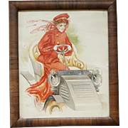 Antique Color  Print Woman Driving a Car Walnut Frame