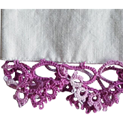 Vintage Pillow Case with Purple Lace Tatting Tube Cotton Cases Tubing