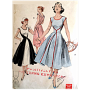 1950s Wrap Dress Sewing Pattern Bust 32 Uncut Easy Sew - Red Tag Sale Item