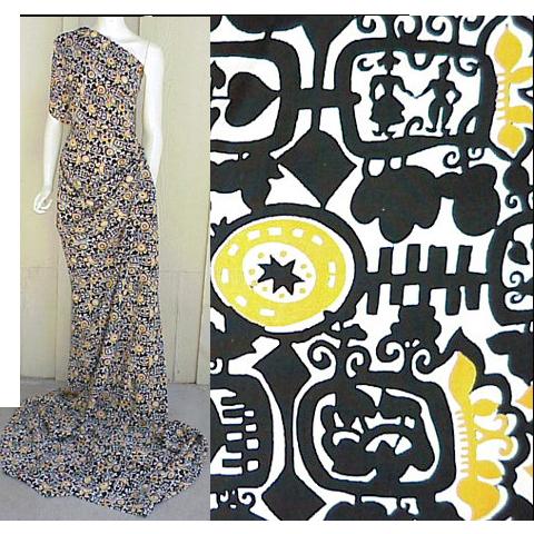 Vintage 1940s Spun Rayon Sewing Fabric 3 + Yards Black Yellow