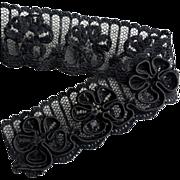 Antique Lace Trim Edging Black on Black Soutache Flowers on Net - Red Tag Sale Item