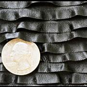 Antique Black Silk Ruffled Ribbon Victorian Clothing French or German Fashion Bebe Doll Trim