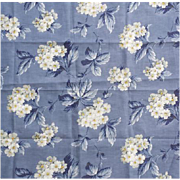 "1940s Vintage Upholstery Sewing Fabric Blue With White Floral 36"" Wide"