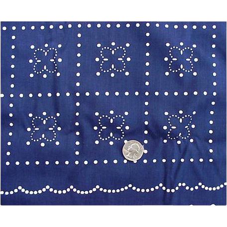 Unusual Vintage Sewing Fabric White Dots on Blue Clothing Home Decor
