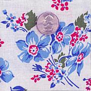 Vintage Blue Floral Flour Sack Feed Bag Large Size 1940
