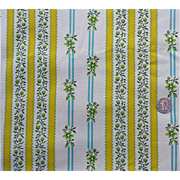Vintage 1960s Cotton Upholstery Fabric Turquoise Yellow Wallpaper