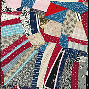 Rare Very Large Antique Cotton Crazy Quilt 1870 - 1890 Textile Art