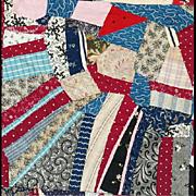 Rare Very Large Antique Cotton Crazy Quilt 1870 - 1890 Textile Art
