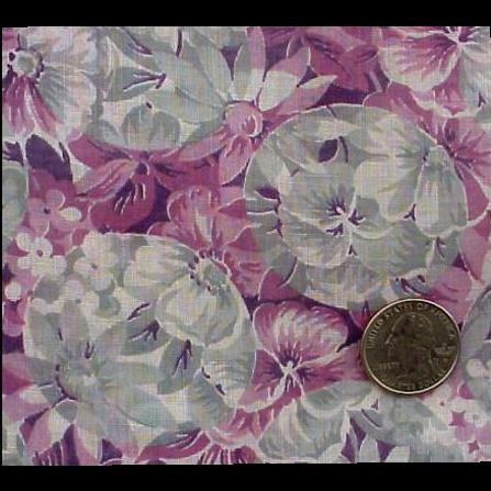 1920s - 1930s Cotton Voile Sewing Fabric Purple Gray Downton Abbey Era