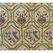 1940s Vintage Cotton Fabric 9 + yards Barkcloth Green Burgundy Birds BTY