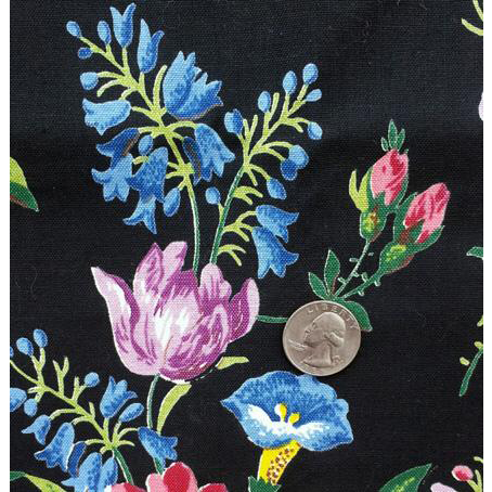 Vintage Cotton Sewing Fabric 3-1/4 Yards Beautiful Floral on Black Drapes Upholstery