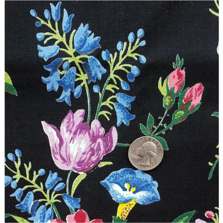 Dramatic Black Floral Upholstery Fabric Vintage Cotton Sewing Material 5-3/4 Yards