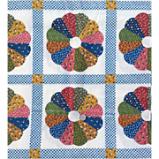 Vintage Cotton Dresden Plate Cheater Quilt Sewing Fabric Queen Size