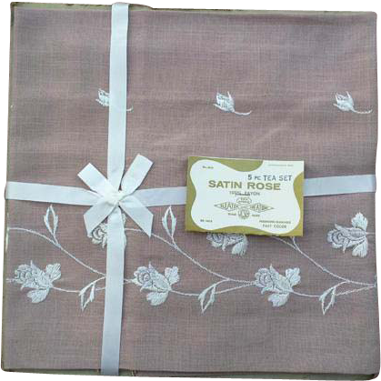 Five Piece 1960s Luncheon, Tea or Bridge Tablecloth with Napkins MIP