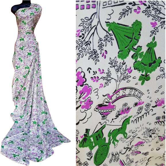 Gorgeous 1950s Silk Sewing Fabric 3 + yards Novelty Print Green Purple