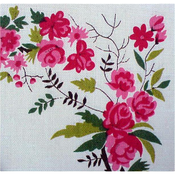 1960s Pink Roses Linen Placemats with Napkins Mint NOS Unused