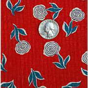 1930s - 1940s Cotton Pique Sewing Fabric Red with Stylized Flowers 2 + Yards.