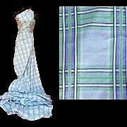 1940s  Cotton Sewing Fabric 4 Yards Gray Purple Green Plaid Dress Length