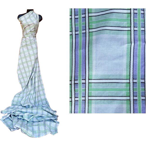 1940s  Cotton Sewing Fabric 4 Yards Gray Purple Green Plaid Dress Length