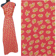 Coral Cotton Vintage Sewing Fabric Mint Pique Lightweight Brilliant Coral