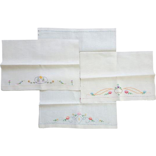 Three Vintage French or Irish Linen Kitchen Towels with Embroidery Flowers & Flourishes
