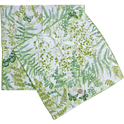 Vintage Vera Neumann Cotton Butterfly Napkins Green Ferns
