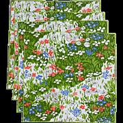Vintage Vera Floral Cotton Napkins Iconic 1960s - 1970s