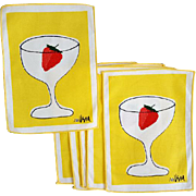 Six Vintage Vera Cocktail Napkins Strawberry in Stemware Ladybug