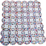 Vintage Quilt Top Wedding Ring Pattern 1920s - 1930s Cotton Fabrics