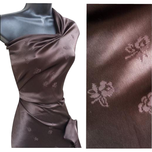 Vintage Rayon Sewing Fabric 1930s - 1940s 3 + Yards Chocolate Damask