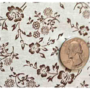 Vintage Cotton Sewing Fabric Tiny Brown Flowers Quilting Gunne Sax Holly Hobbie