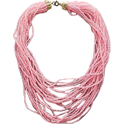 Pink Seed Bead Torsade Necklace 24 Fluid Strands Think Spring