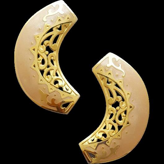 Big Berebi Blonde and Gold Tone Earrings 1980s Fashion