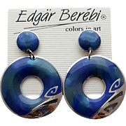 Dazzling Big Blue Berebi Pierced Earrings circa 1988
