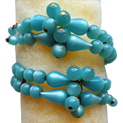 Vintage Moonglow Memory Wire Bracelet Soft Turquoise Lucite Beads