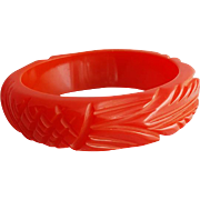 Deeply Carved Bakelite Bangle Bracelet Wide Red Licorice