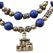Sterling Silver and Lapis Necklace Bracelet Set Pueblo Bears 40.6 Grams